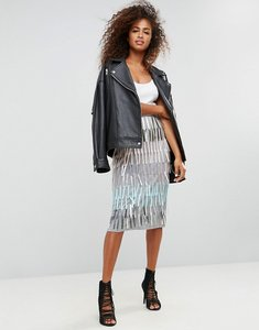 Read more about Asos pencil skirt with fringe embellishment - grey