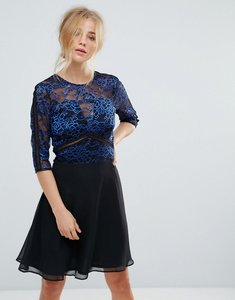 Read more about Elise ryan lace skater dress with ladder trim - black blue