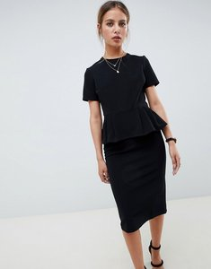 Read more about Asos design rib pencil dress with peplum - black