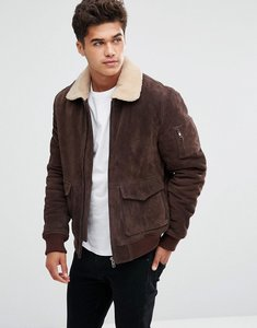 Read more about Bellfield suede jacket with borg collar - dark brown