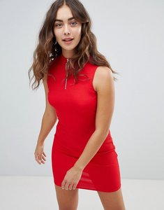 Read more about New look zip detail high neck bodycon dress - red