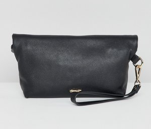 Read more about Paul costelloe real leather roll down clutch - black