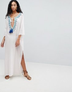 Read more about Liquorish maxi beach dress with embroidered emblem - white blue