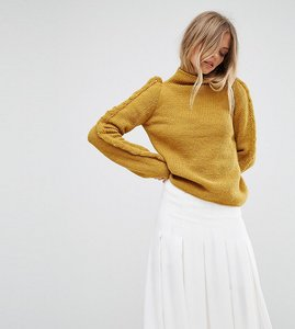 Read more about Oneon hand knitted ruffle jumper - mustard
