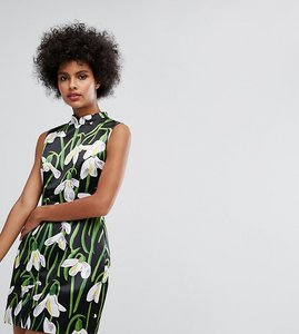 Read more about Horrockses mini dress with mandarin collar in print - multi