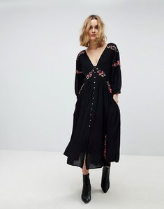 Read more about Free people day glow midi embroidered dress - black combo