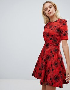 Read more about Louche abstract print skater dress - red black
