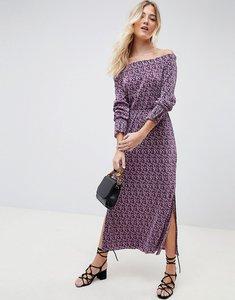 Read more about Asos design off shoulder ditsy print plisse maxi dress - ditsy print