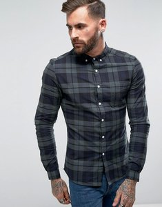 Read more about Asos design skinny fit check shirt in navy - navy