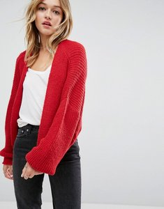 Read more about Asos chunky cardigan in fluffy rib - red