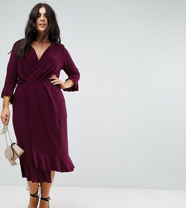 Read more about Asos curve wrap front midi dress with frill detail - plum