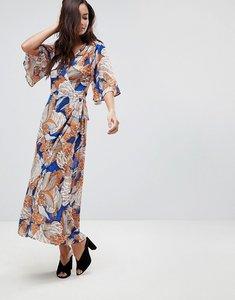 Read more about Brave soul santini 3 4 length wrap dress in bold print - orange royal