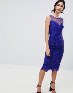Read more about Little mistress lace bodycon pencil dress - cobalt