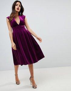 Read more about Asos deep plunge bonded velvet prom midi dress - purple
