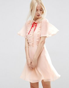 Read more about Asos short sleeve ruffle front tea dress with contrast tie - cream