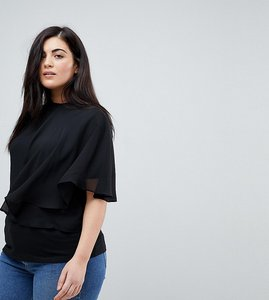 Read more about Lost ink plus t-shirt with flutter frill detail - black