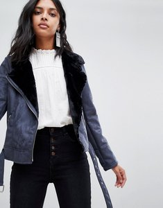 Read more about Barney s originals jacket with faux fur collar - navy and black