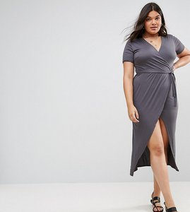 Read more about Club l plus short sleeve wrap over open split midi dress - grey charcoal