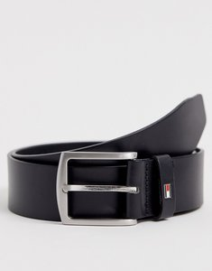 Read more about Tommy hilfiger denton flag logo leather belt in black - black