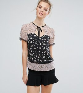Read more about Fashion union tall mix and match printed blouse with lace trim - multi