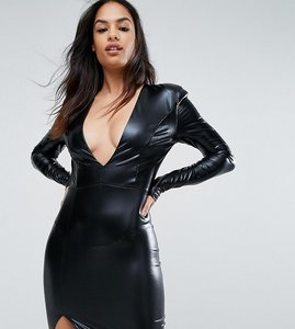 Read more about Club l v neck high shine mini dress with shoulder pads - black
