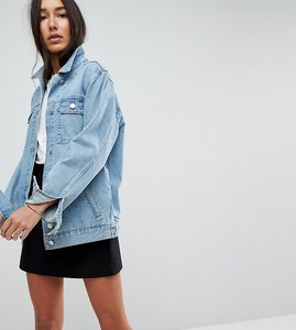Read more about Asos tall denim girlfriend jacket in lightwash blue - blue