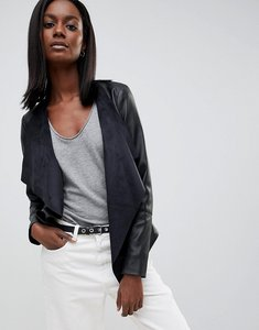 Read more about Oasis faux leather waterfall jacket - black