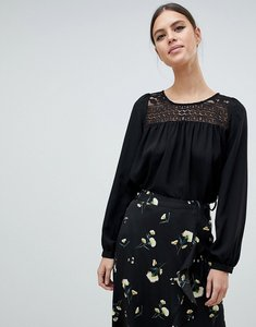 Read more about French connection shirley blouse with crochet yolk - black