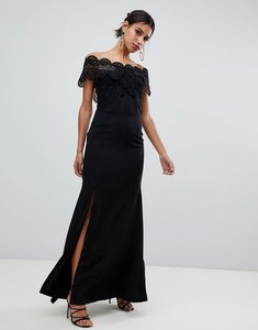 Read more about True decadence lace bardot maxi dress in black