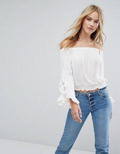 Read more about Miss selfridge fluted sleeve bardot top - white