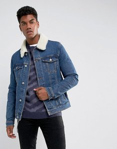 Read more about Asos skinny denim jacket with borg collar in mid wash - blue