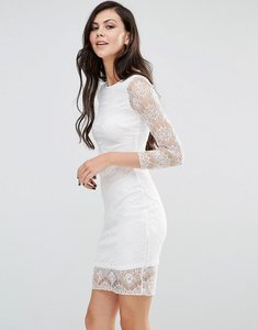 Read more about Lipstick boutique long sleeve bodycon dress with lace sleeves - ivory