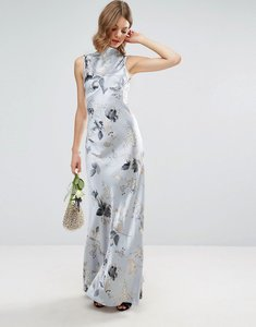 Read more about Asos design bridesmaid 40s seamed maxi dress in silver rose print - multi