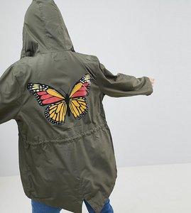 Read more about Brave soul plus flutterby rain mac - khaki
