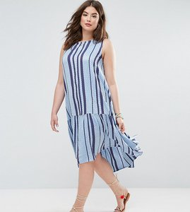 Read more about Asos curve trapeze midi smock dress in stripe - blue stripe
