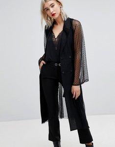Read more about Lost ink tuxedo blazer in sheer spot mesh - black