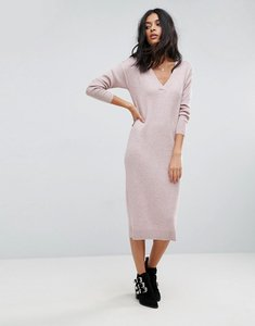 Read more about Asos knitted dress in silk blend - dirty rose