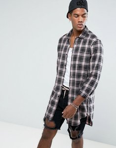 Read more about Asos regular fit longline check shirt with acid wash - pale pink