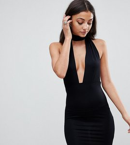 Read more about Asos tall halterneck plunge mini bodycon dress - black