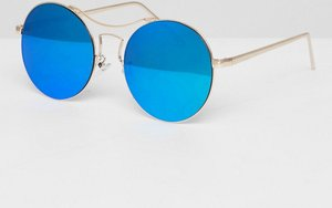 Read more about Aj morgan round frame sunglasses in blue lens - gold blue