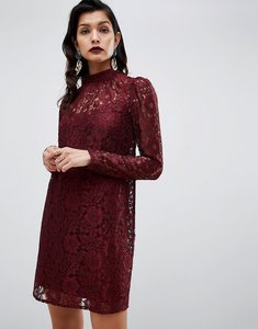 Read more about Asos design lace shift mini dress with long sleeves - oxblood
