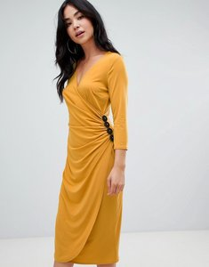 Read more about Asos design ruched midi wrap dress with contrast buttons - mustard