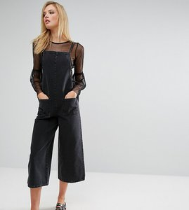 Read more about Asos tall denim cropped length jumpsuit in washed black - washed black
