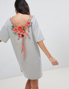 Read more about Asos design t-shirt dress with rose embroidery - grey marl