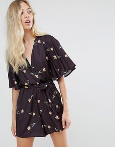 Read more about Oh my love printed kimono playsuit with waist tie - tulip print