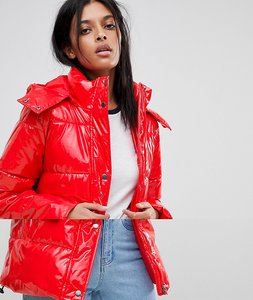 Read more about Noisy may vinyl padded jacket - red