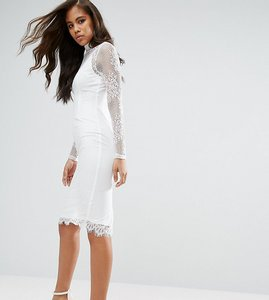 Read more about Missguided tall high neck lace midi dress - white