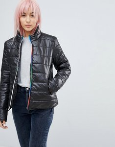 Read more about Brave soul pembroke padded coat with rainbow zips - black