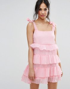 Read more about Missguided tie shoulder tiered ruffle dress - pink