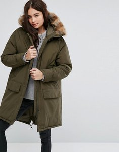 Read more about Barbour oversized hooded parka with detachable faux fur trim - dark olive